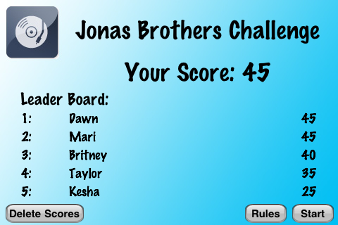 Screenshot Jonas Brothers Challenge